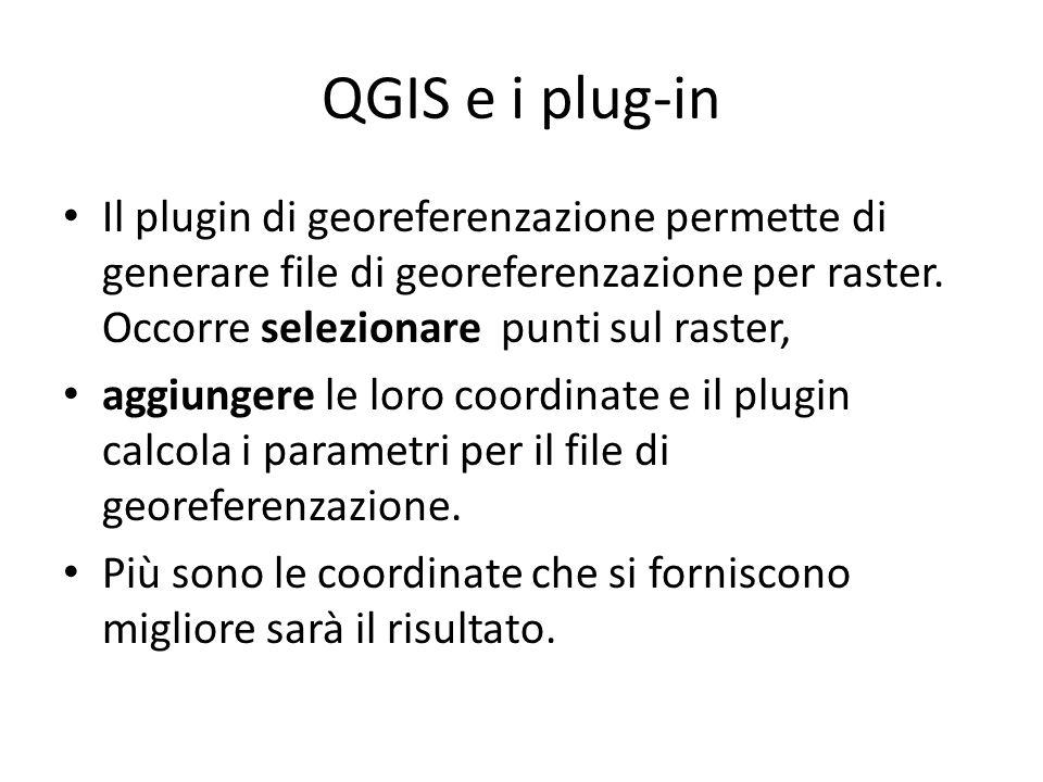 QGIS e i plug-in Il plugin di georeferenzazione permette di generare file di georeferenzazione per raster. Occorre selezionare punti sul raster,