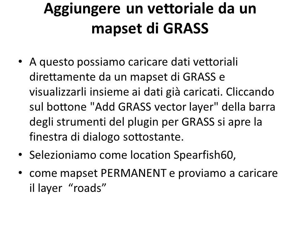 Aggiungere un vettoriale da un mapset di GRASS