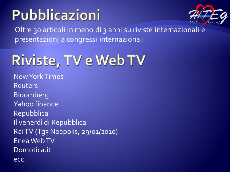 Pubblicazioni Riviste, TV e Web TV