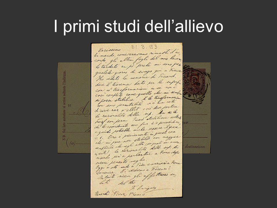 I primi studi dell'allievo