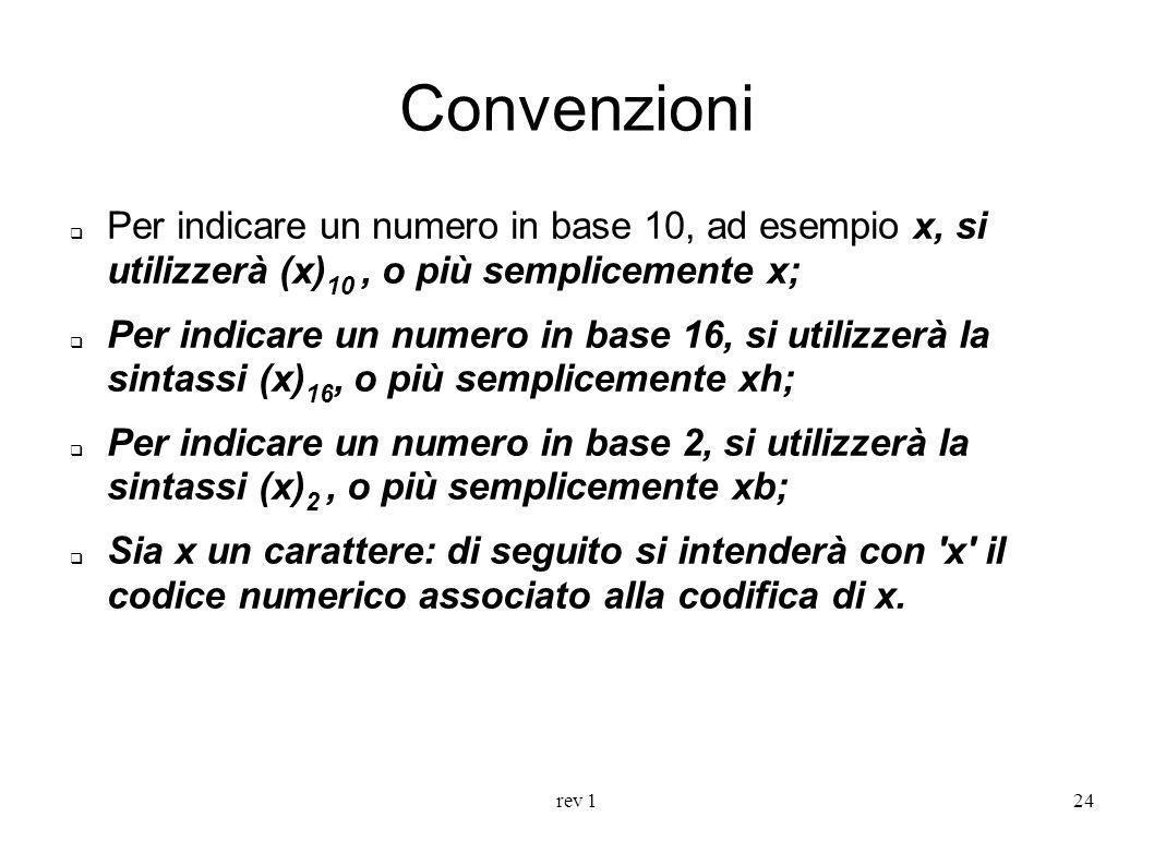 Convenzioni Per indicare un numero in base 10, ad esempio x, si utilizzerà (x)10 , o più semplicemente x;