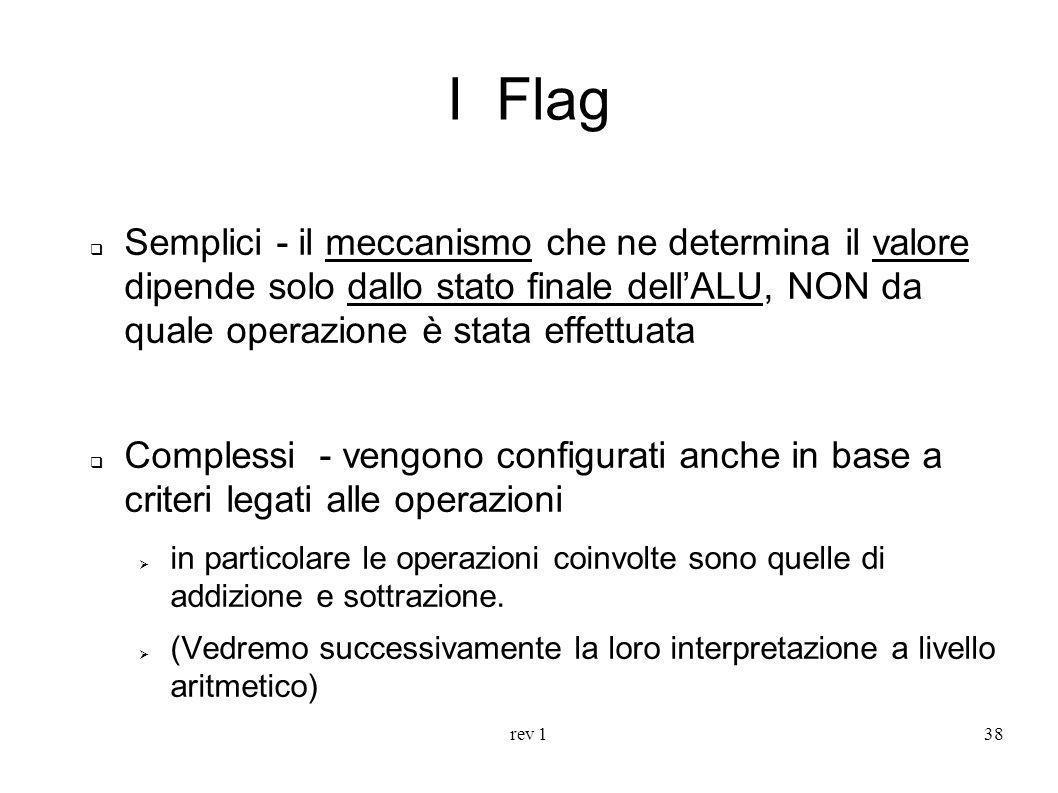 I Flag Semplici - il meccanismo che ne determina il valore dipende solo dallo stato finale dell'ALU, NON da quale operazione è stata effettuata.