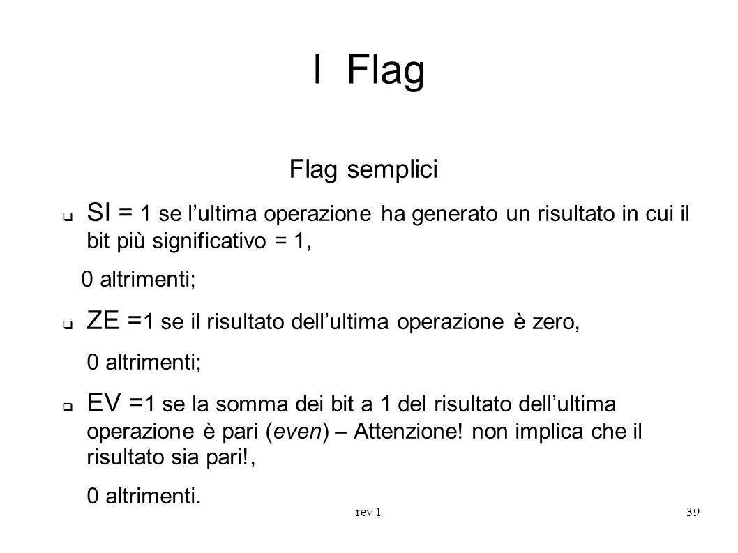 I Flag Flag semplici. SI = 1 se l'ultima operazione ha generato un risultato in cui il bit più significativo = 1,