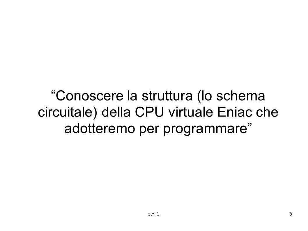 Conoscere la struttura (lo schema circuitale) della CPU virtuale Eniac che adotteremo per programmare