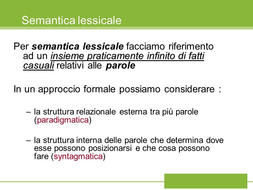 Semantica lessicalePer semantica lessicale facciamo riferimento ad un insieme praticamente infinito di fatti casuali relativi alle parole.