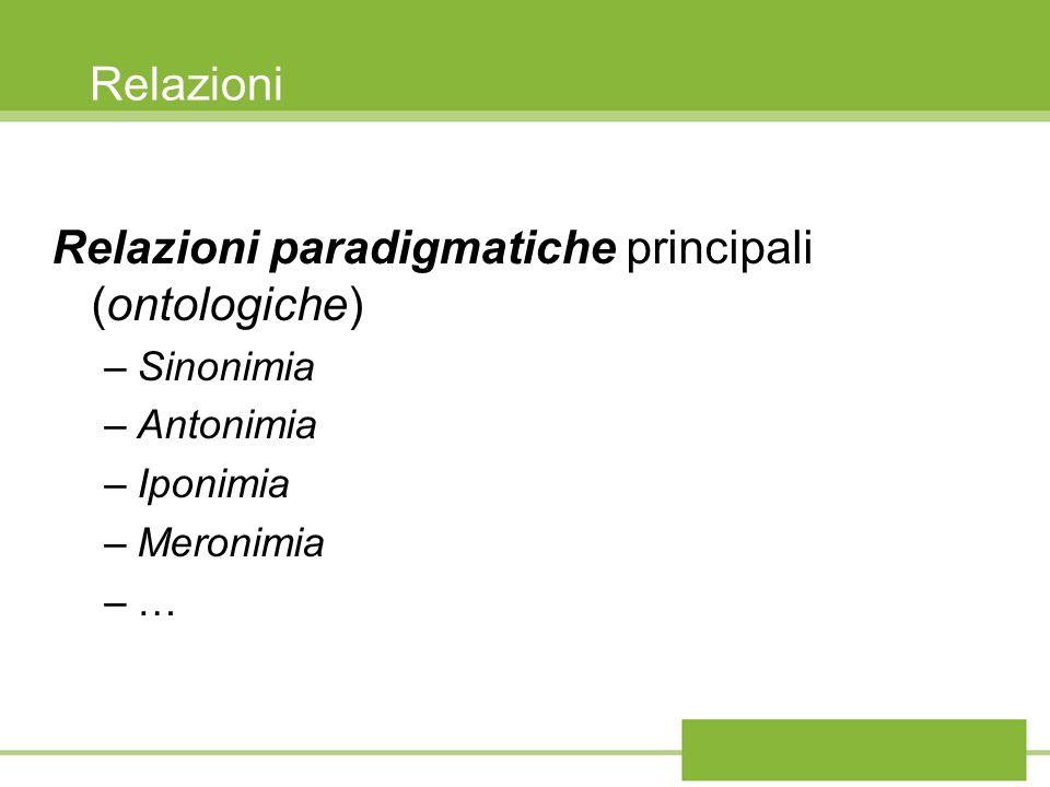 Relazioni paradigmatiche principali (ontologiche)