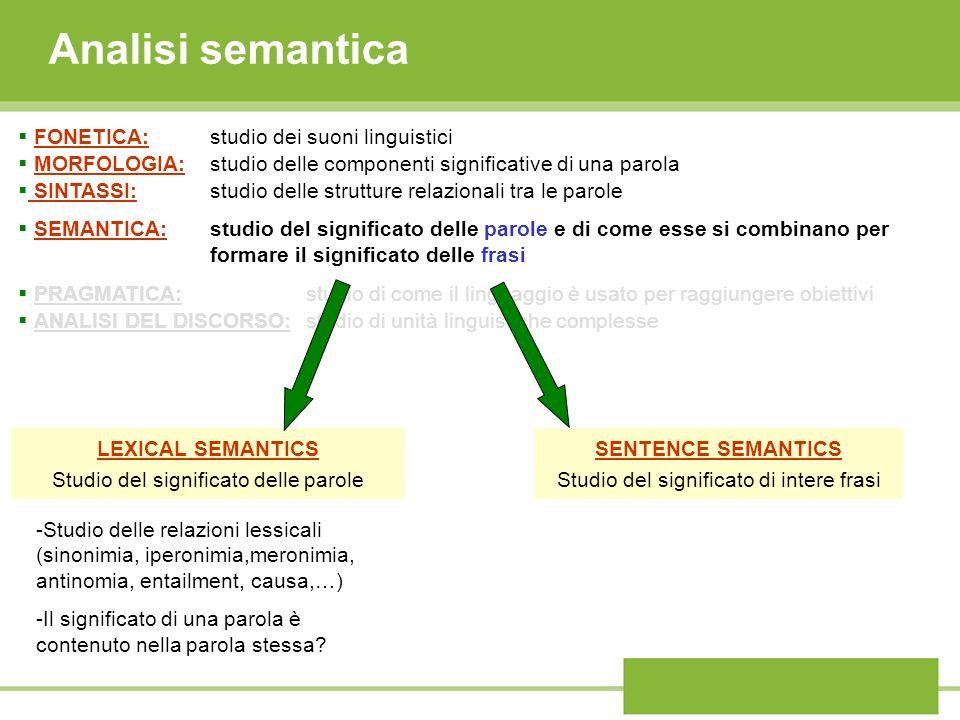 Analisi semantica FONETICA: studio dei suoni linguistici