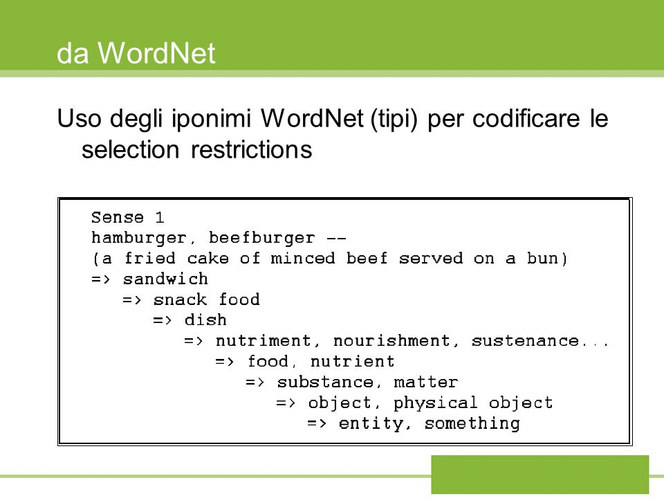 da WordNet Uso degli iponimi WordNet (tipi) per codificare le selection restrictions 49