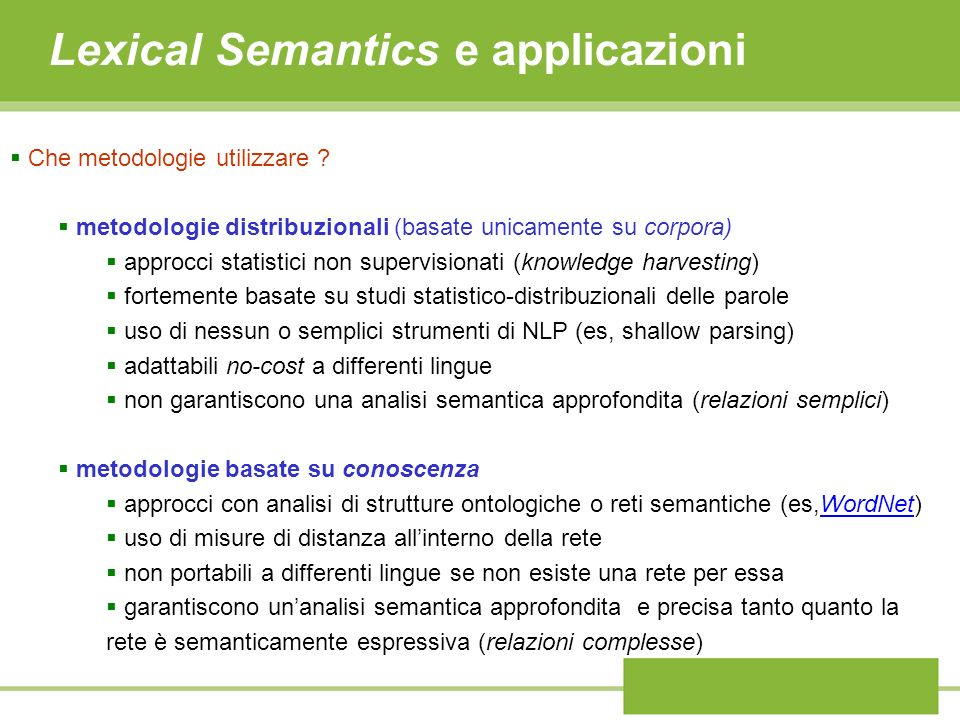 Lexical Semantics e applicazioni