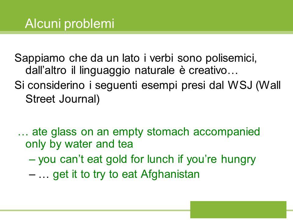 Alcuni problemiSappiamo che da un lato i verbi sono polisemici, dall'altro il linguaggio naturale è creativo…