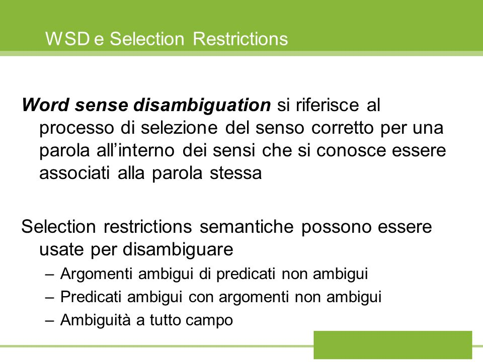 WSD e Selection Restrictions