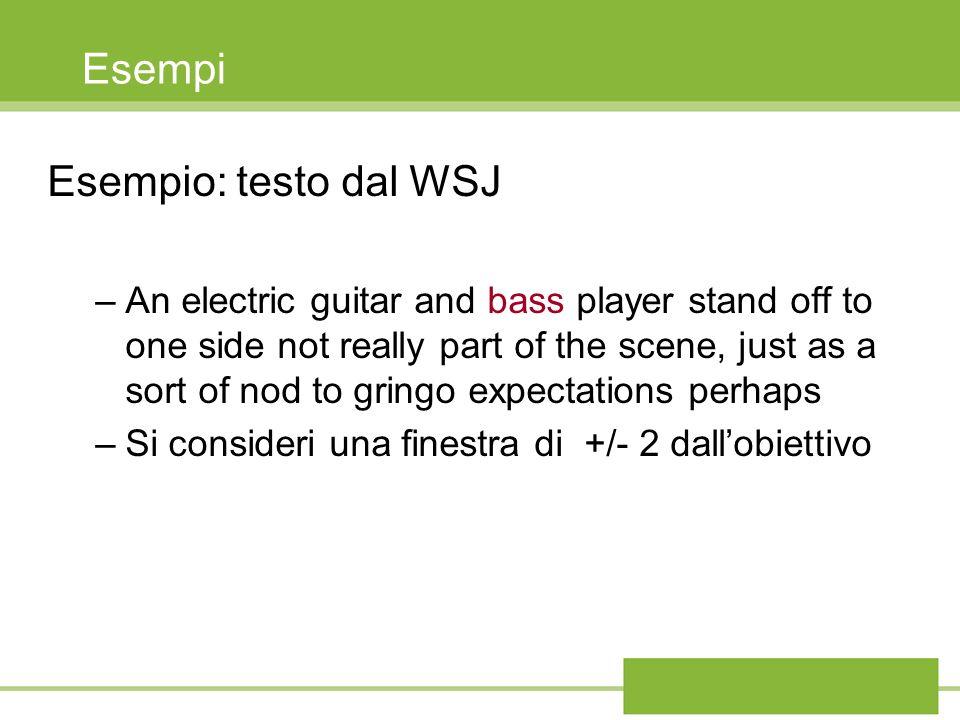 Esempi Esempio: testo dal WSJ