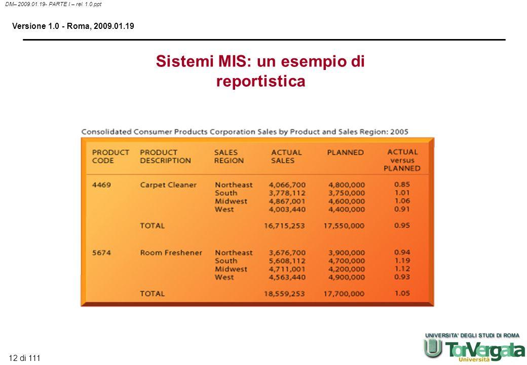 Sistemi MIS: un esempio di reportistica
