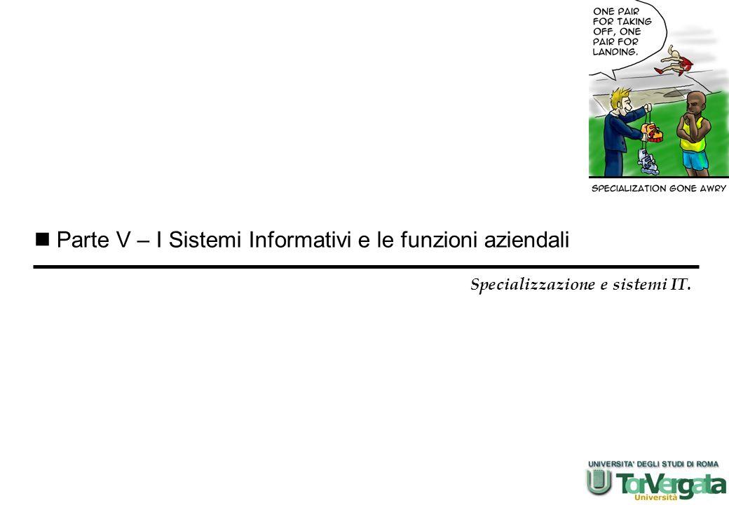 Parte V – I Sistemi Informativi e le funzioni aziendali