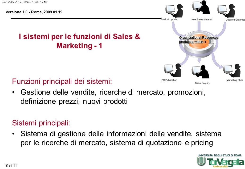 I sistemi per le funzioni di Sales & Marketing - 1