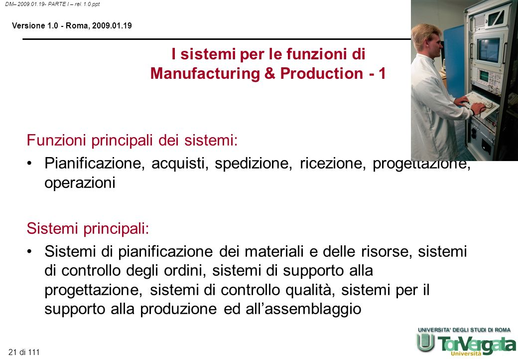 I sistemi per le funzioni di Manufacturing & Production - 1