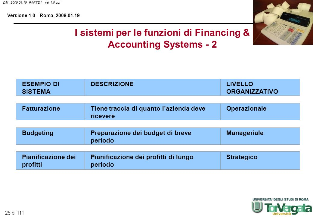 I sistemi per le funzioni di Financing & Accounting Systems - 2