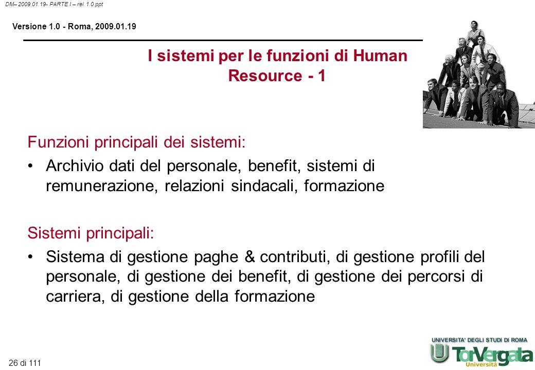 I sistemi per le funzioni di Human Resource - 1