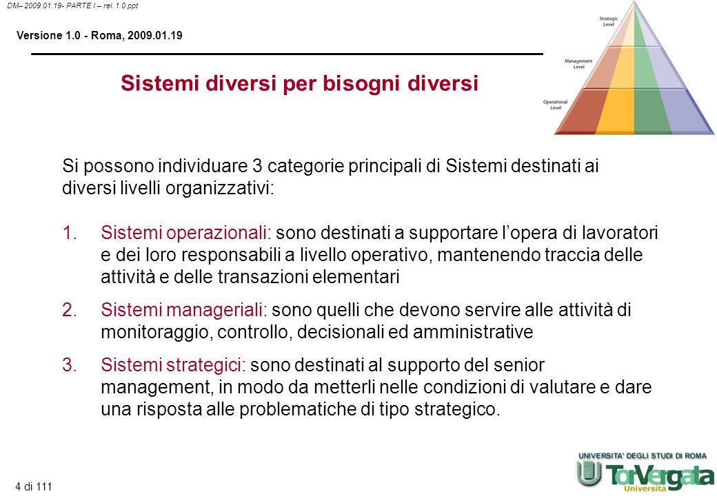 Sistemi diversi per bisogni diversi