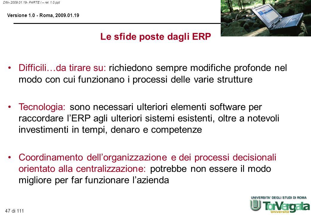 Le sfide poste dagli ERP