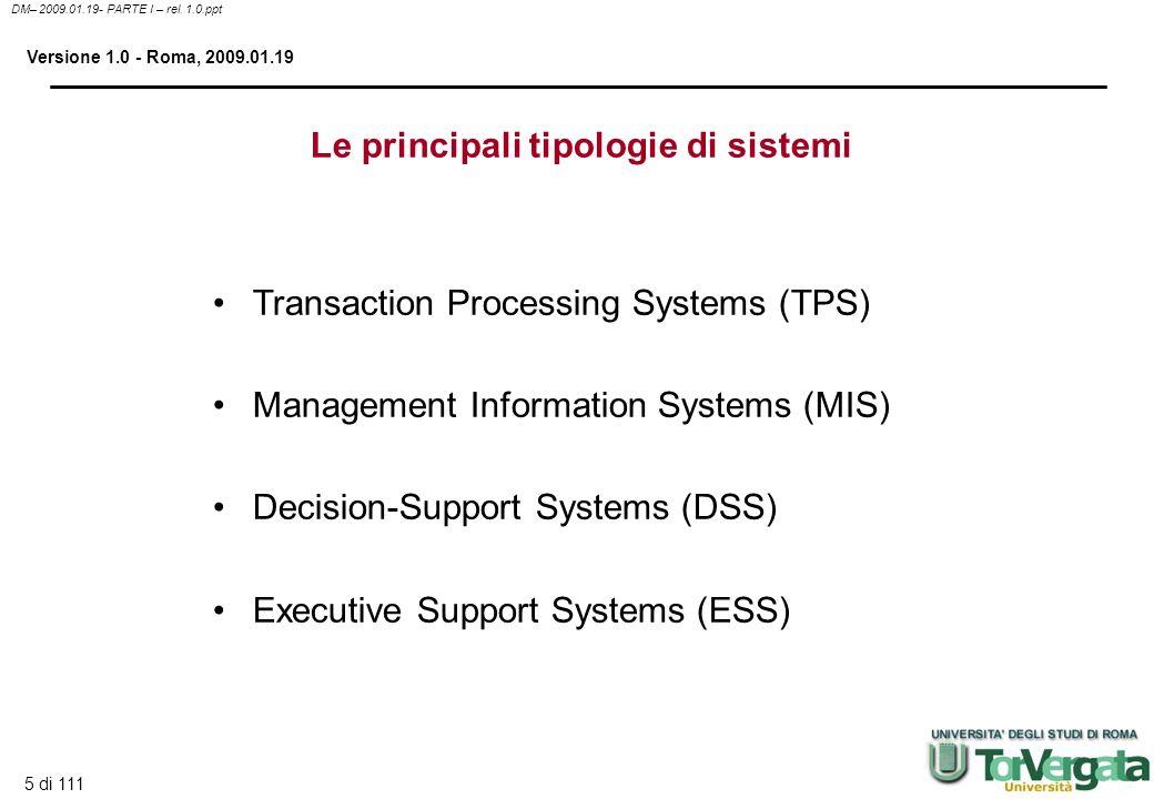Le principali tipologie di sistemi