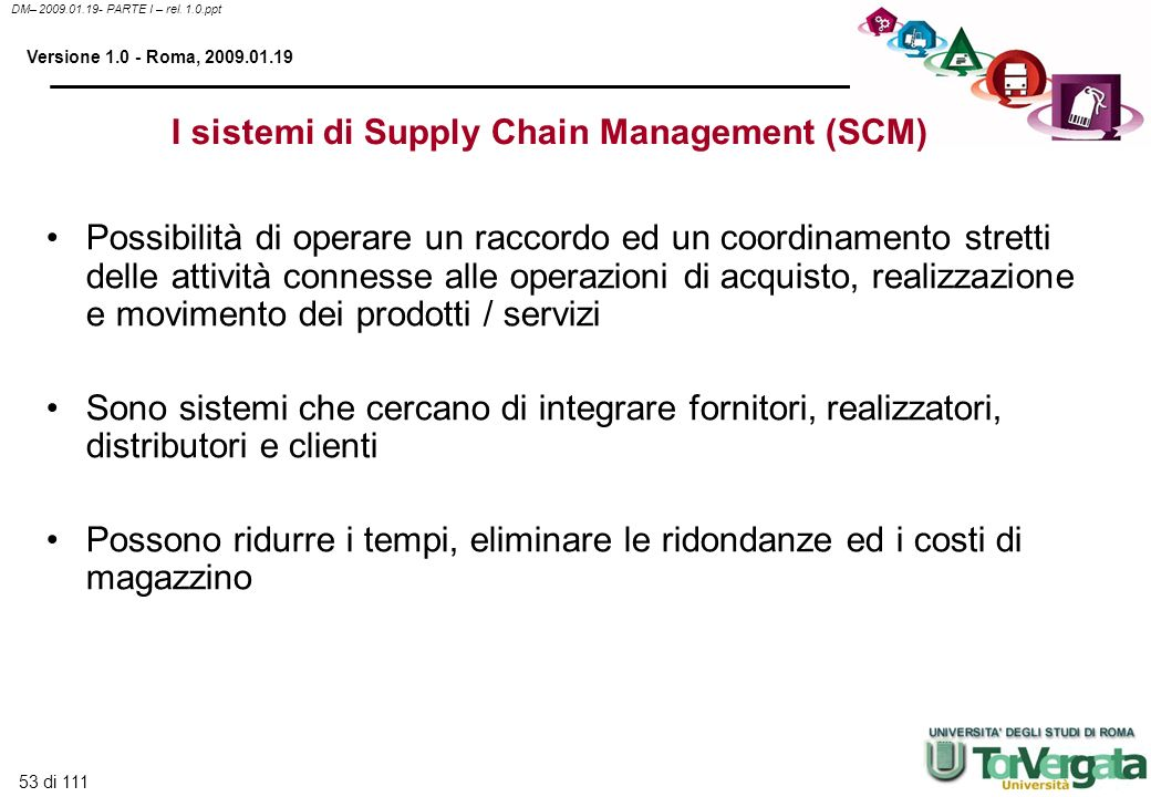 I sistemi di Supply Chain Management (SCM)