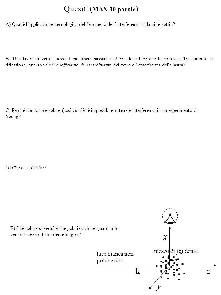 x z y Quesiti (MAX 30 parole) k mezzo diffondente