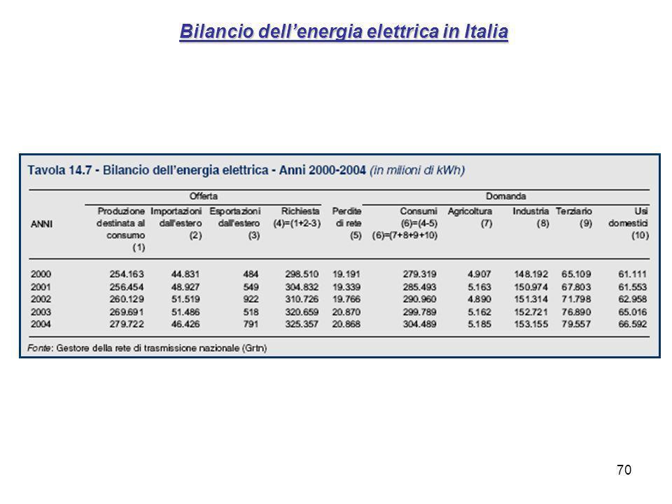 Bilancio dell'energia elettrica in Italia