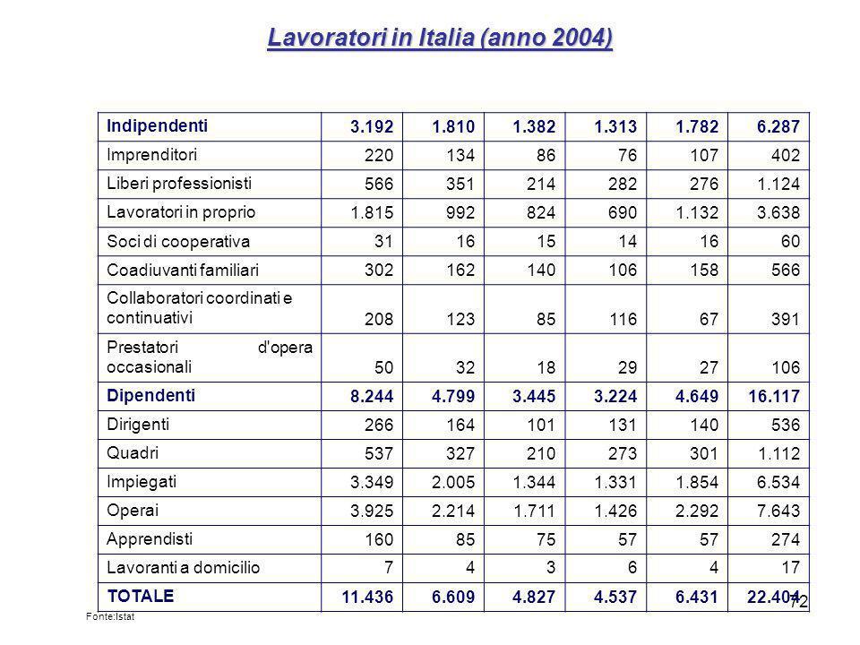 Lavoratori in Italia (anno 2004)