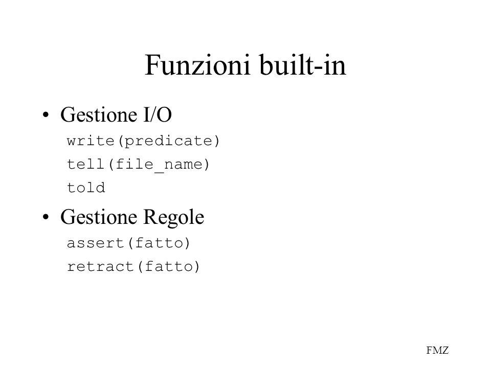 Funzioni built-in Gestione I/O Gestione Regole write(predicate)