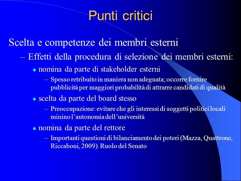 Punti critici Scelta e competenze dei membri esterni