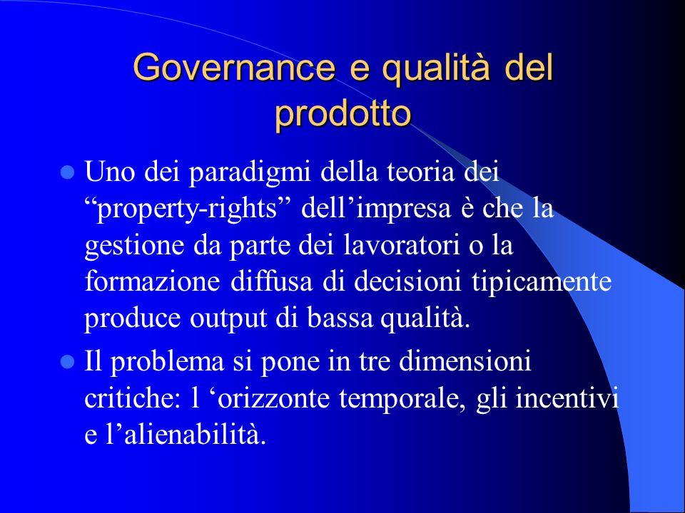 Governance e qualità del prodotto