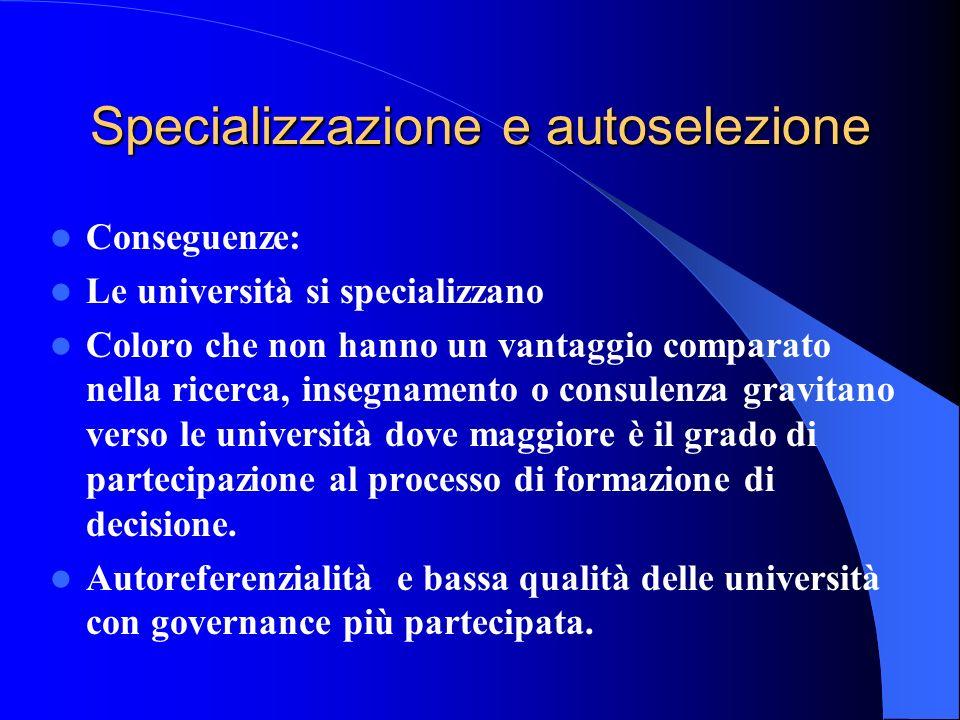Specializzazione e autoselezione