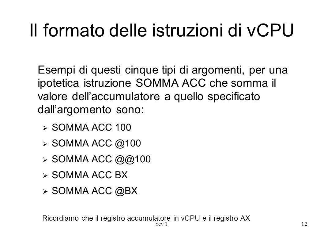Il formato delle istruzioni di vCPU