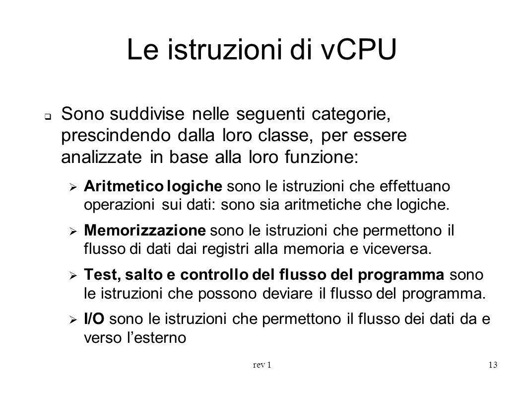 Le istruzioni di vCPU Sono suddivise nelle seguenti categorie, prescindendo dalla loro classe, per essere analizzate in base alla loro funzione: