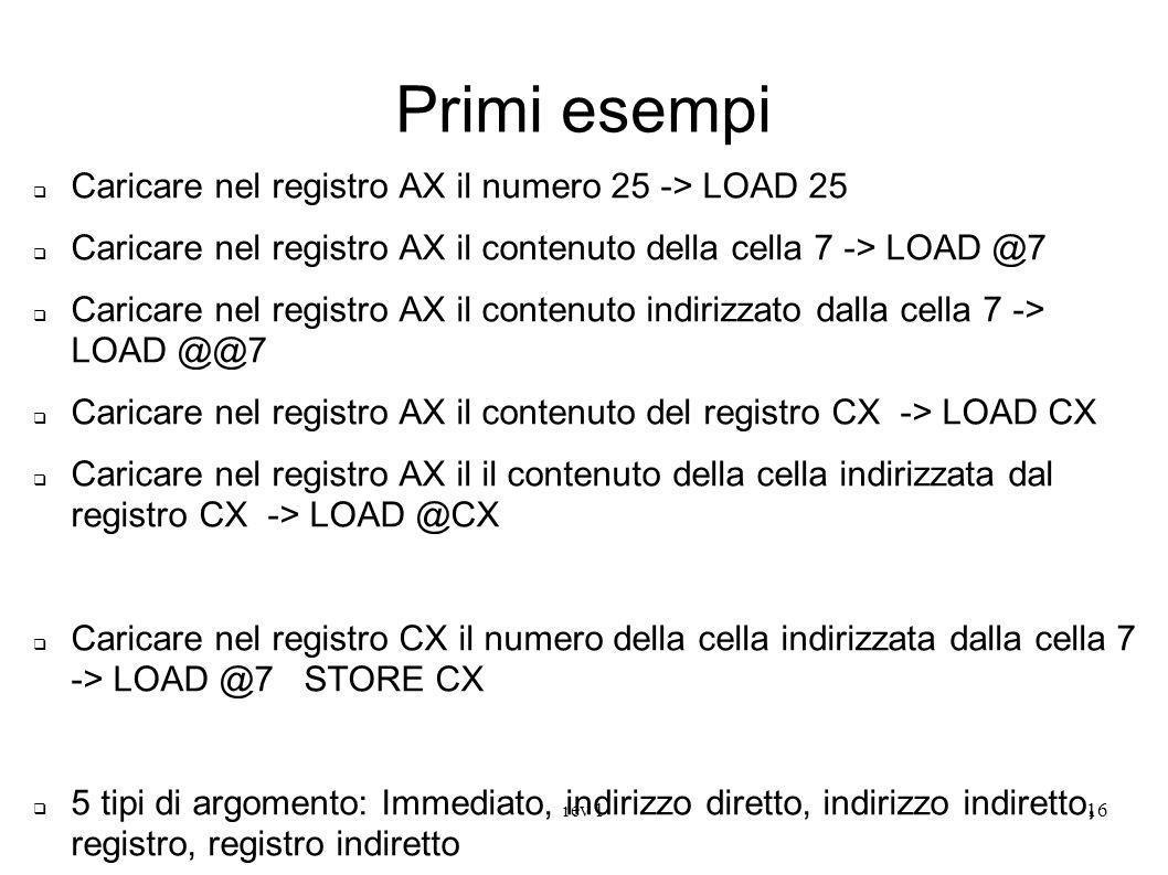 Primi esempi Caricare nel registro AX il numero 25 -> LOAD 25