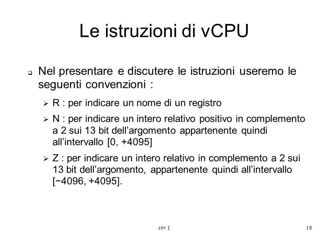 Le istruzioni di vCPU Nel presentare e discutere le istruzioni useremo le seguenti convenzioni : R : per indicare un nome di un registro.