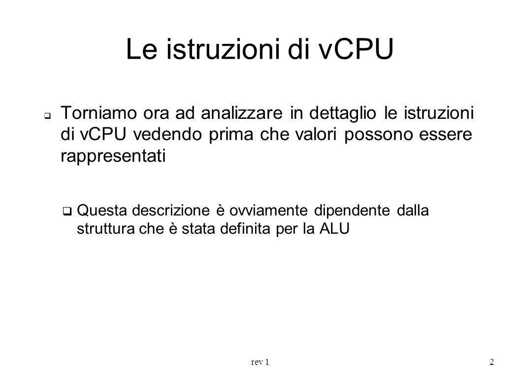 Le istruzioni di vCPU Torniamo ora ad analizzare in dettaglio le istruzioni di vCPU vedendo prima che valori possono essere rappresentati.