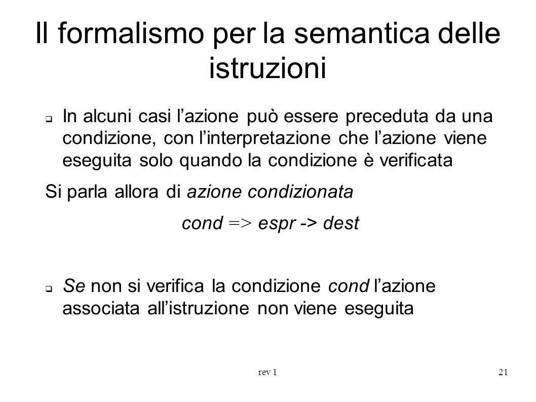 Il formalismo per la semantica delle istruzioni