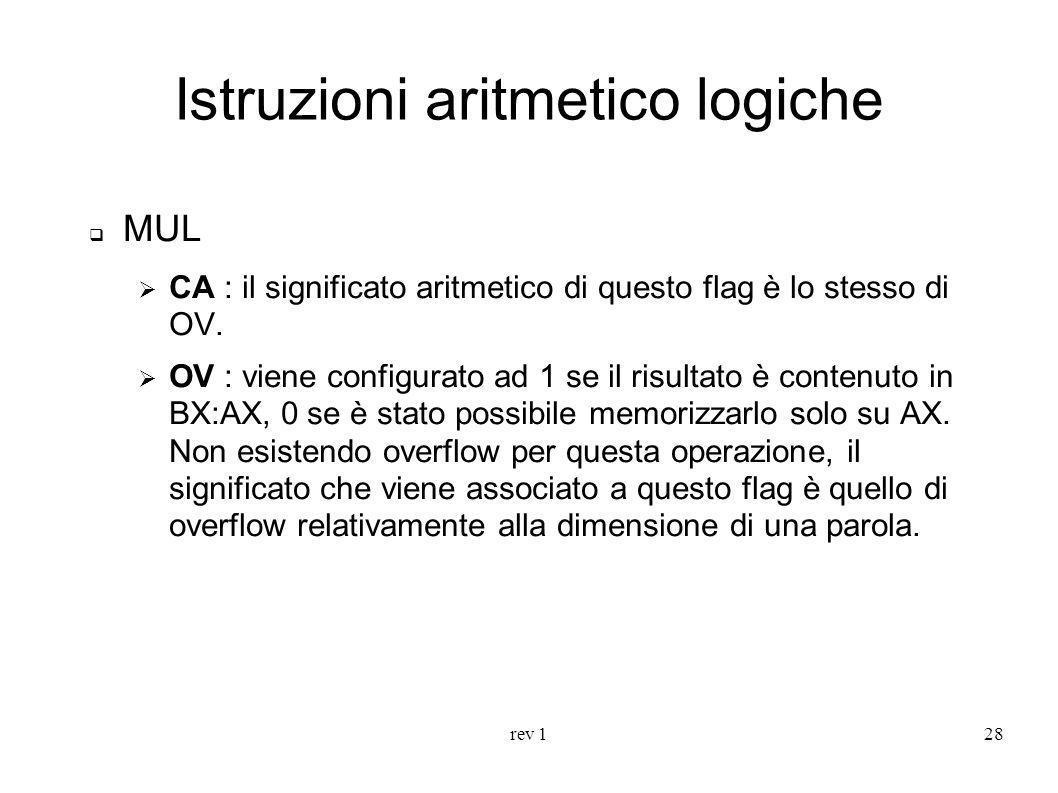 Istruzioni aritmetico logiche
