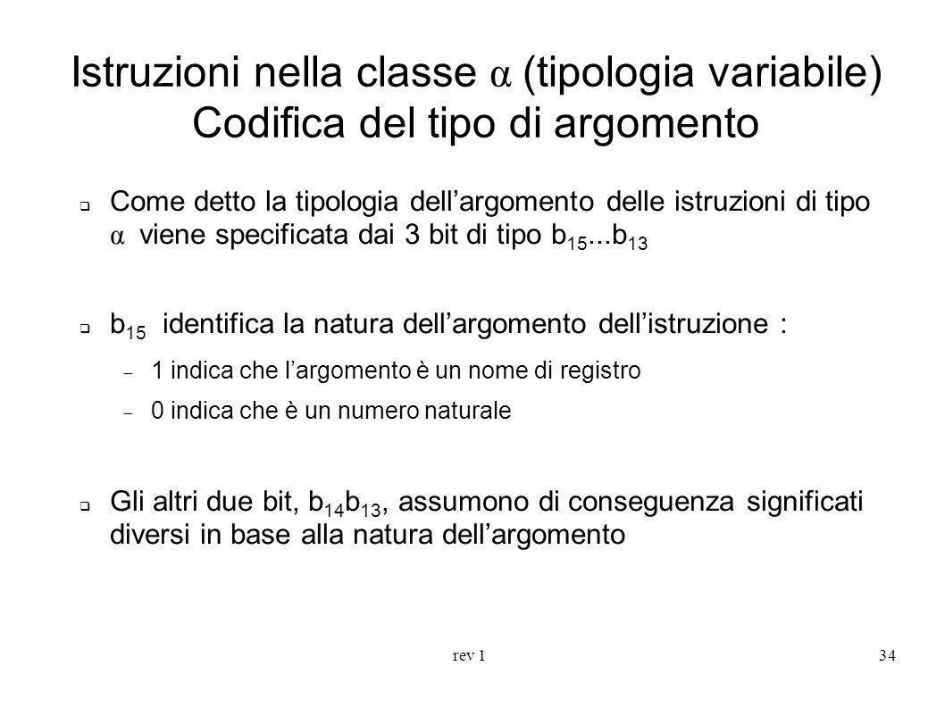 Istruzioni nella classe α (tipologia variabile) Codifica del tipo di argomento