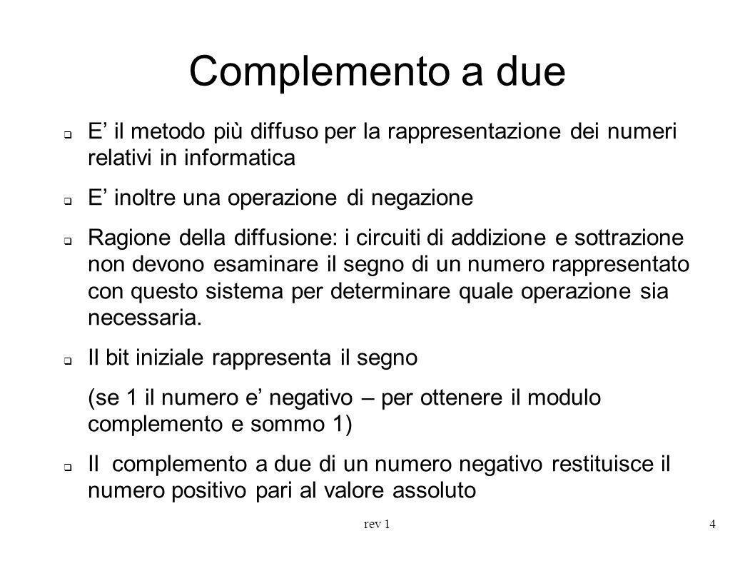 Complemento a due E' il metodo più diffuso per la rappresentazione dei numeri relativi in informatica.