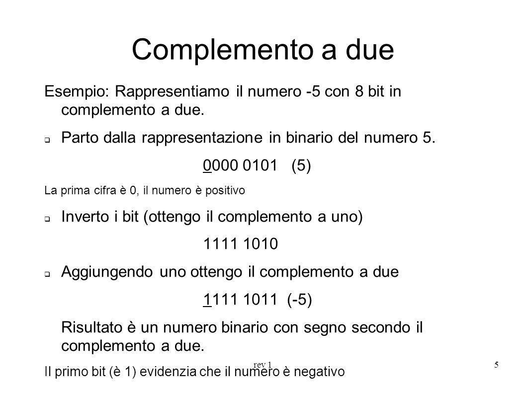 Complemento a due Esempio: Rappresentiamo il numero -5 con 8 bit in complemento a due. Parto dalla rappresentazione in binario del numero 5.