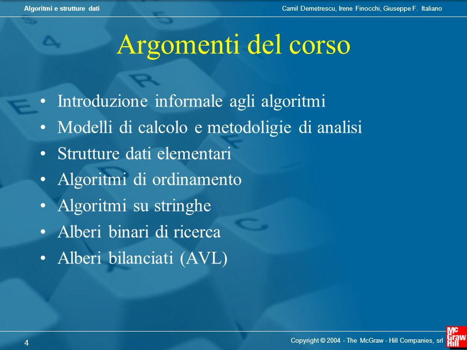 Argomenti del corso Introduzione informale agli algoritmi