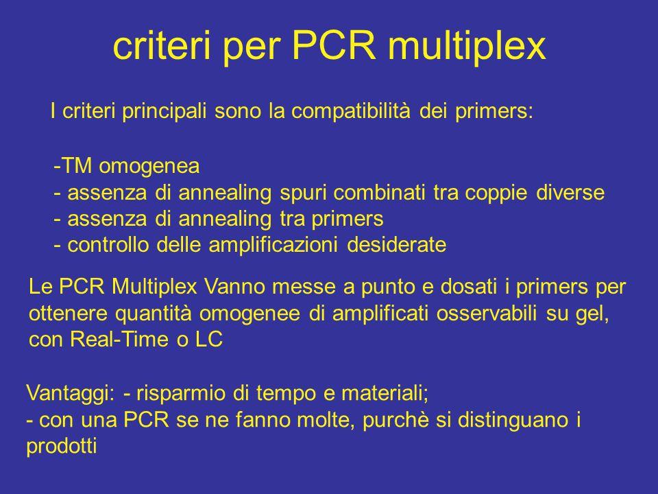 criteri per PCR multiplex