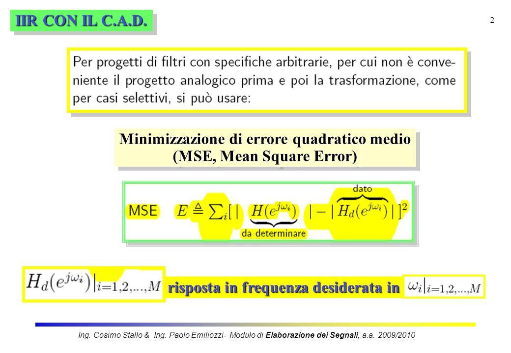 Minimizzazione di errore quadratico medio (MSE, Mean Square Error)
