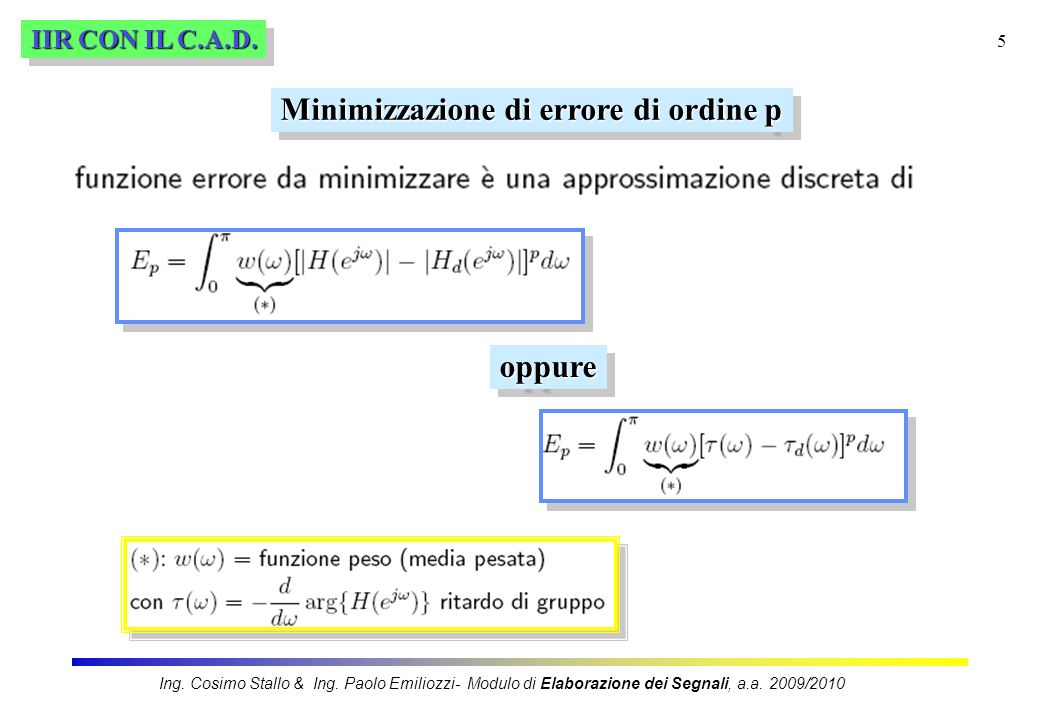 Minimizzazione di errore di ordine p