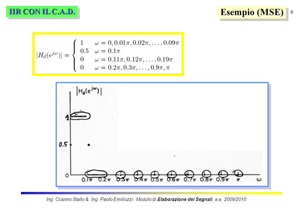 Esempio (MSE) IIR CON IL C.A.D.
