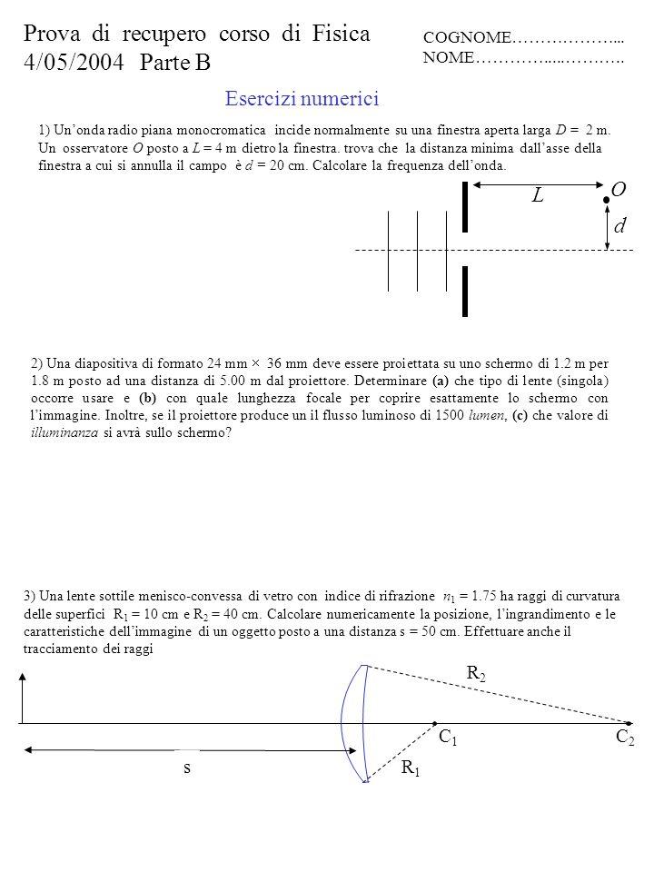 Prova di recupero corso di Fisica 4/05/2004 Parte B