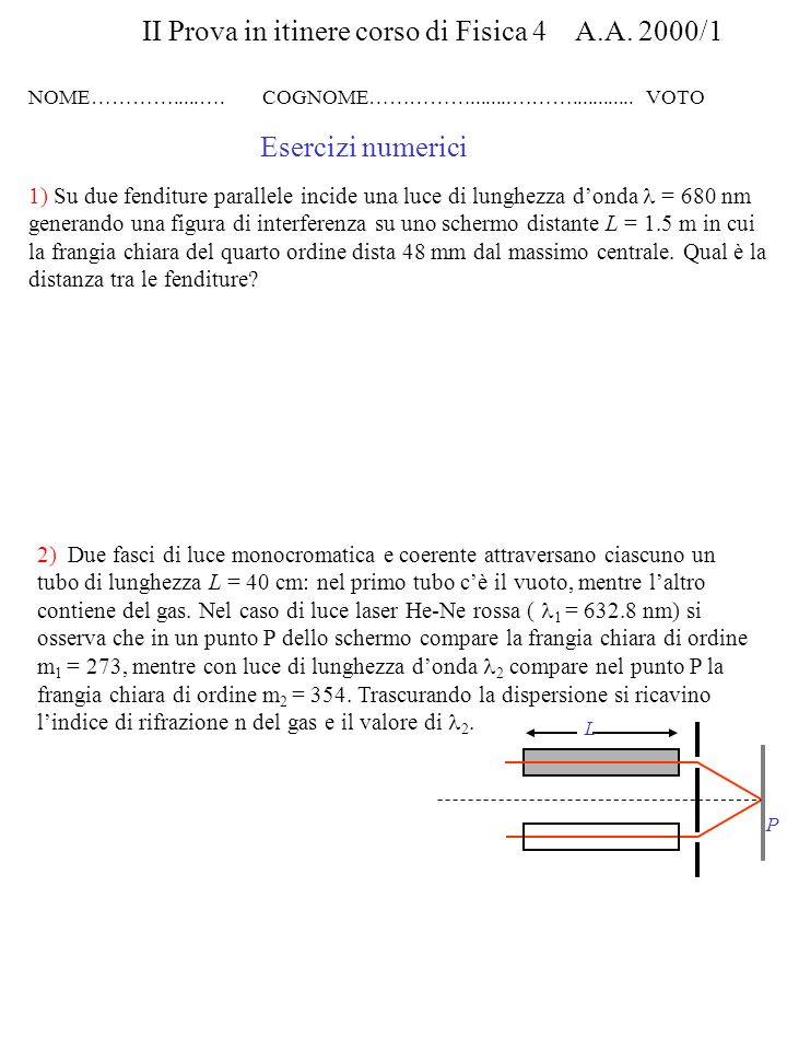 II Prova in itinere corso di Fisica 4 A.A. 2000/1